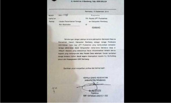"""Kades di Rembang Kaget Dinas Kesehatan """"Order"""" Sekdes"""