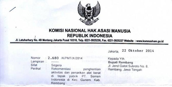 Surat dari Komnas HAM yang dipindai oleh pihak JMPPK Rembang dan diunggah di jejaring sosial, facebook, Kamis (30/10/2014) pagi. (Foto: Pujianto)