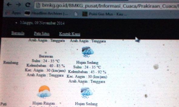 Senin, Rembang Diprakirakan Hujan Sedang