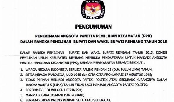 PPK Pilkada Tertutup Bagi Mantan Penyelenggara Kecamatan
