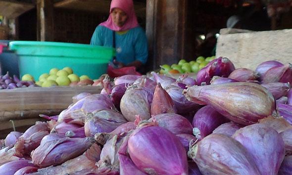 Seorang pedagang di Pasar Lasem menata bawang merah yang sekarang harganya melambung tinggi. (Foto: Portal KBR)