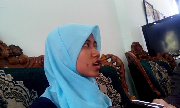 Roudhotul Jannah, siswa di SMK Umar Fatah Rembang, baru saja pulang dari Amerika Serikat. (Foto: mataairradio.com)
