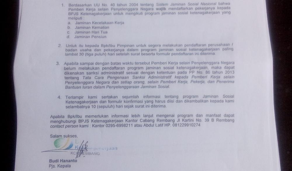 Salah satu bagian surat dari BPJS Ketenagakerjaan KCP Rembang kepada salah satu usaha agar mendaftarkan pekerjanya sebagai peserta jaminan sosial nasional. (Foto: Pujianto)