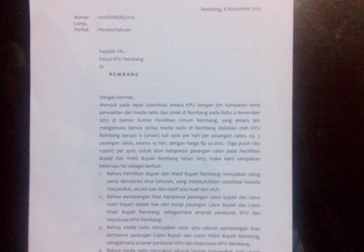 Radio Swasta Rembang Menolak Kerjasama Iklan Kampanye KPU