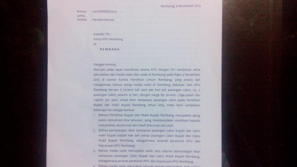 Surat Forum Komunikasi Radio Rembang kepada KPU Rembang tertanggal 6 November 2015. (Foto: mataairradio.com)