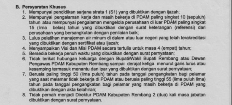 Cetak layar persyaratan khusus calon direktur PDAM Rembang, yang diambil pada Rabu (23/12/2015) pukul 14.05 WIB. (Sumber: www.rembangkab.go.id)