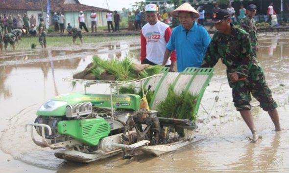 Pencanangan percepatan penanaman padi serentak di Desa Sidomulyo Kecamatan Kaliori, Jumat (4/11/2016) pagi. Percepatan tanam padi ini dalam kerangka mewujudkan target 250.000 ton gabah kering giling pada 2017. (Foto: Pujianto)