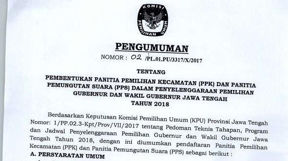 KPU mulai Buka Pendaftaran PPK dan PPS