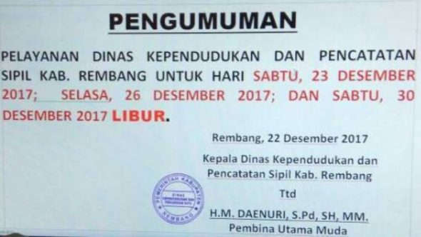 Layanan e-KTP Libur di Tiga Hari ini di Rembang