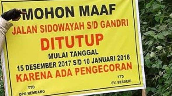 Ruas Sidowayah-Gandrirojo Ditutup hingga 10 Januari 2018
