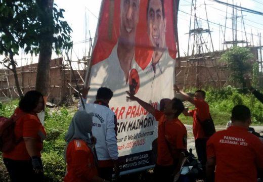 Panwascam Rembang Mulai Bersihkan Atribut Kampanye Ilegal
