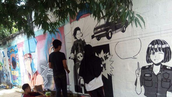 Polisi Rembang Coba Cegah Kecelakaan lewat Lomba Mural