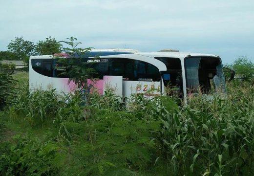 Bus Berpenumpang Puluhan Orang Alami Kecelakaan Di Pantura Sluke