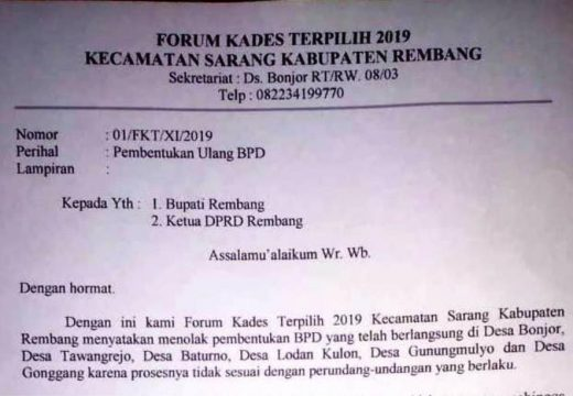 Forum Kades Terpilih 2019 Tuntut Pembentukan BPD Ulang