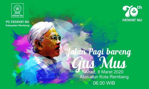 Peringati Harlah ke-70, Fatayat Rembang Gelar Jalan Pagi Bareng Gus Mus