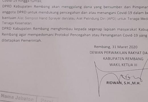 DPRD Rembang Akan Iuran Tanggulangi Penyebaran Covid-19