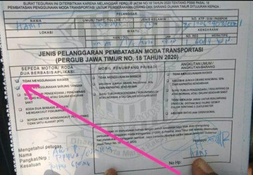 Satlantas Tegaskan Tidak Ada Surat Tilang Masker di Rembang