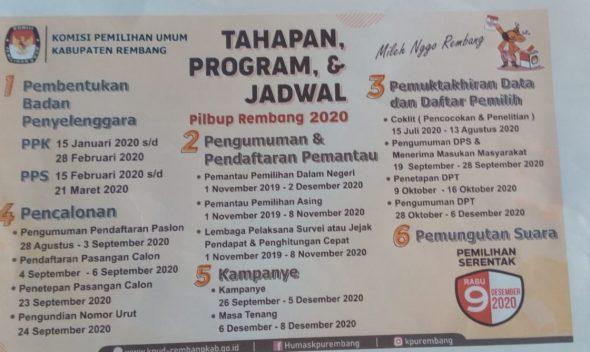 Berikut Jadwal Tahapan Pilkada Rembang 2020