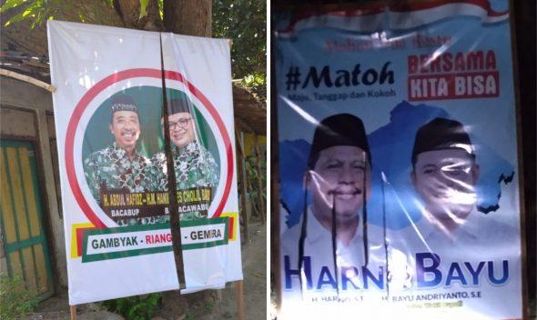 Poster Milik Hafidz-Hanies dan Harno-Bayu Dirusak