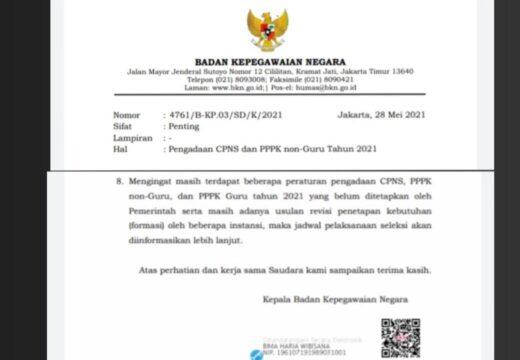 Seleksi ASN dan PPPK Tahun 2021 Ditunda